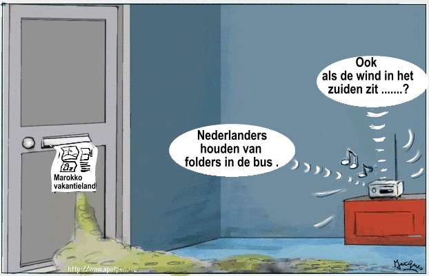 Saharazand in Nederland cartoon