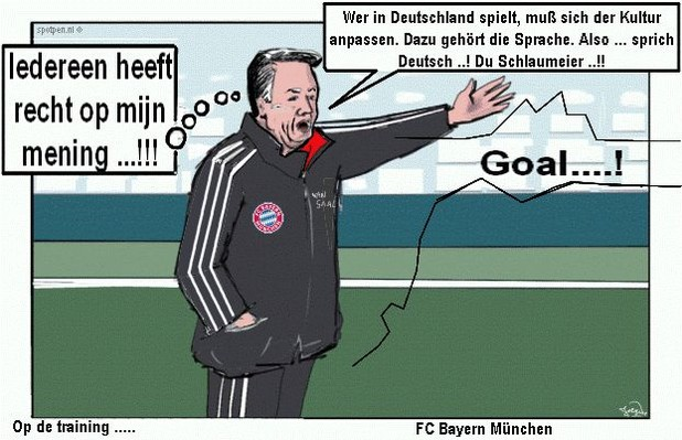 cartoon Louis van Gaal voetbal trainer