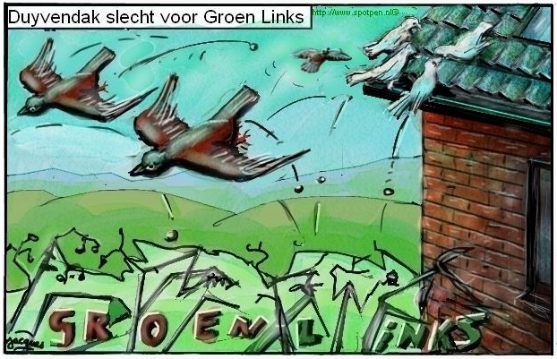 duiven dak cartoon duiven  duif Groen Links