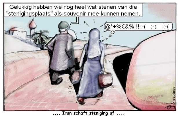 lijfstraffen cartoon steniging Iran