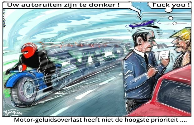 geluidsoverlast  cartoon motoren