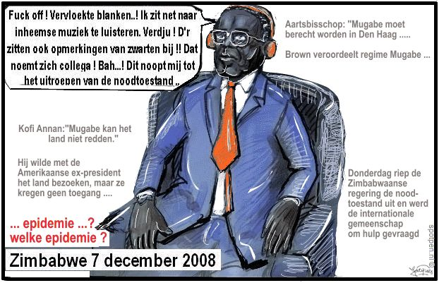 Mugabe cartoon Zimbabwe crisis nationalisme noodtoestand
