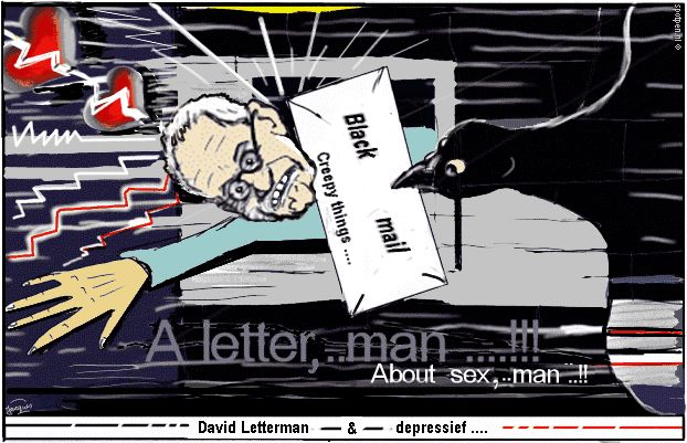 Cartoon  David Letterman  afpersing  chantage brief