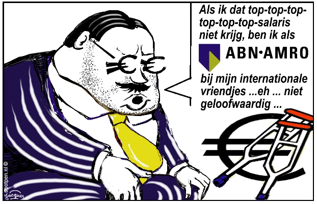 cartoon banken bankier  bonussen