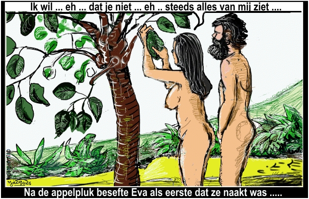 Adam en Eva Paradijs  zondeval cartoon