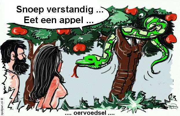 cartoon Adam en Eva Aards Paradijs slang