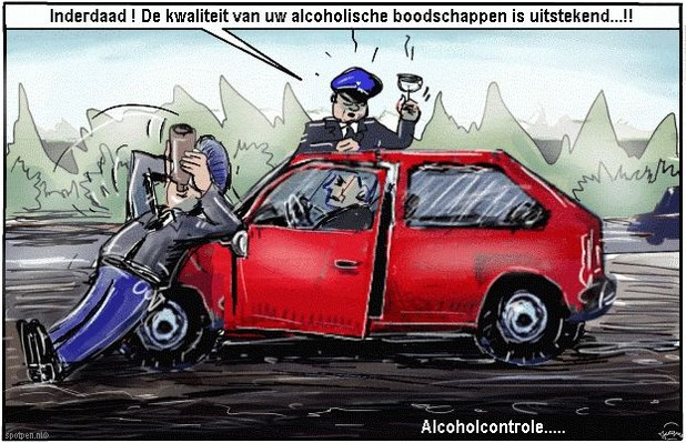Alcoholcontrole  cartoon  alcohol  politie