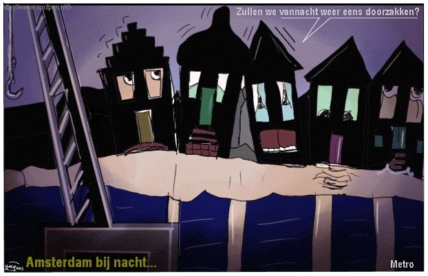 Metro Amsterdam aanleg cartoon