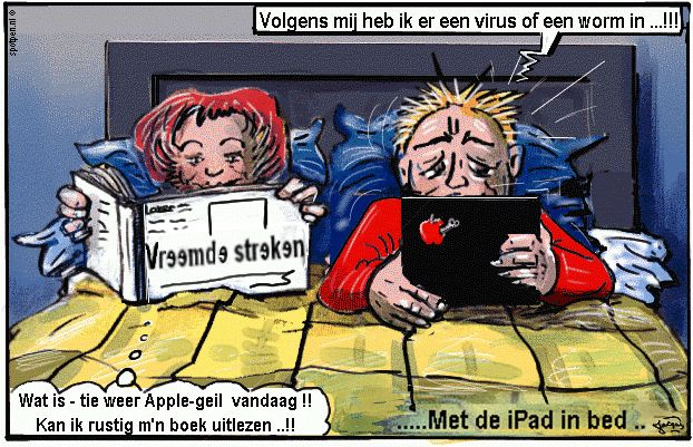 Cartoon samen in bed met iPad Apple computer