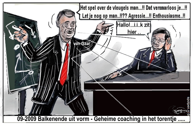 cartoon van Gaal trainer premier Balkenende
