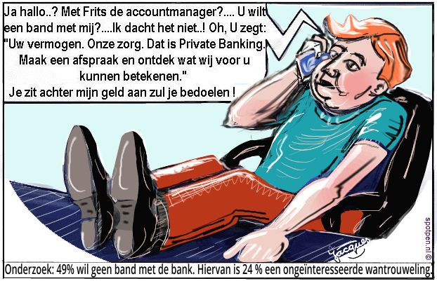 Relatie  bank cartoon  accountmanager private banking