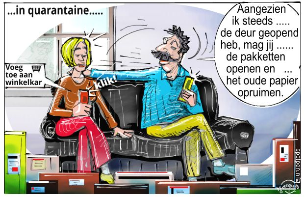bankzitters quarantaine cartoon