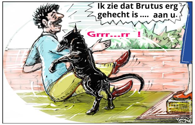 bijtende hond cartoon
