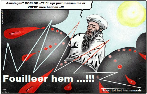 Cartoon hemelpoort Bin Laden