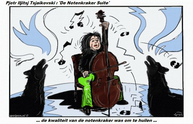 Cartoon  Cello strijkinstrument symfonieorkest notenkraker