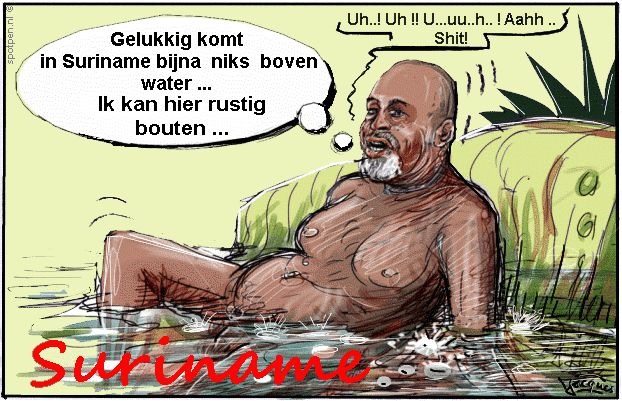 Cartoon Desi Bouterse poepen schijten