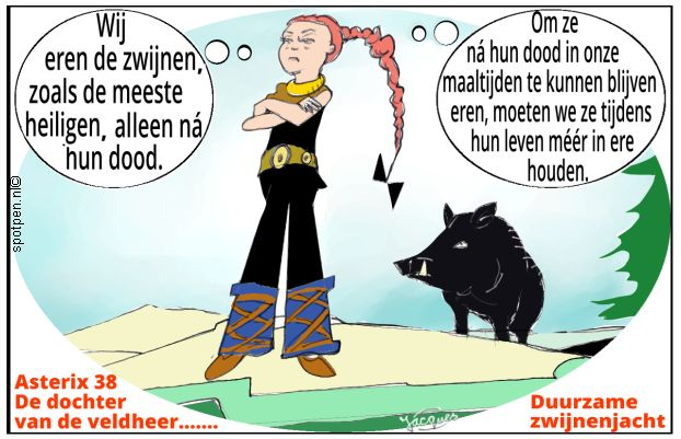 Zwijnenjacht cartoon jacht