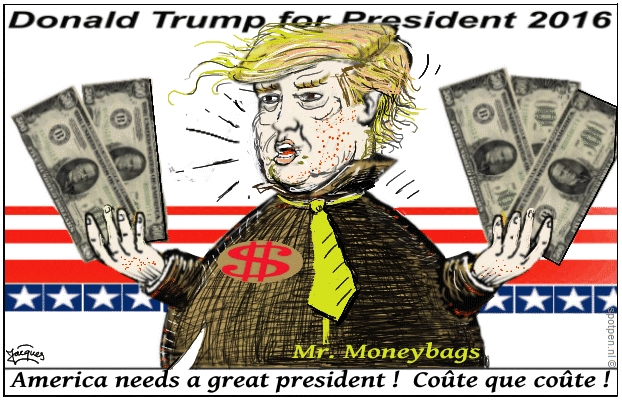 Trump cartoon Donald  Moneybags