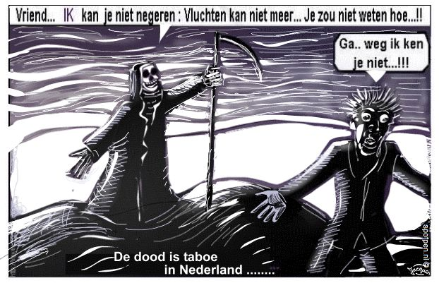 dood cartoon de man met de zeis