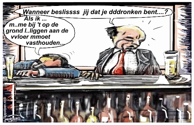 cartoon Dronken kroeg café alcoholisme