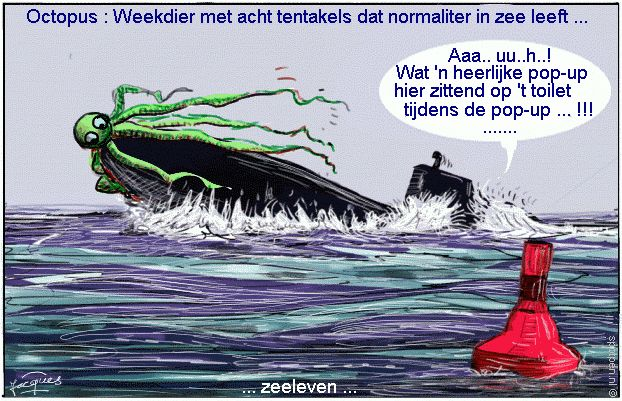 duikboot cartoon pop-up octopus onderzeeër