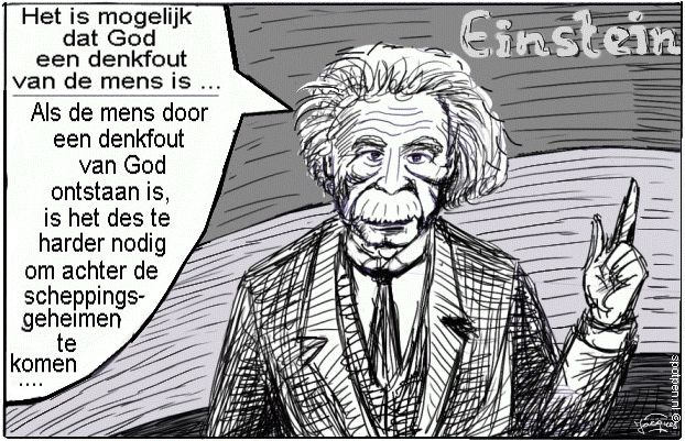 Einstein cartoon schepping ontstaan heelal
