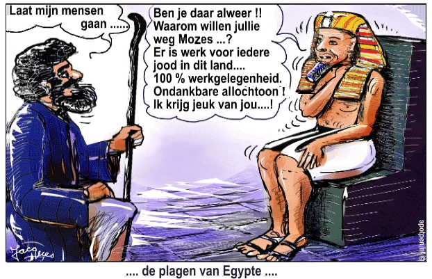 cartoon Farao Mozes Egypte bijbel