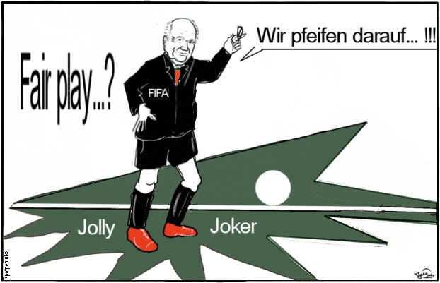 Cartoon voetballen video  doellijn  Blatter