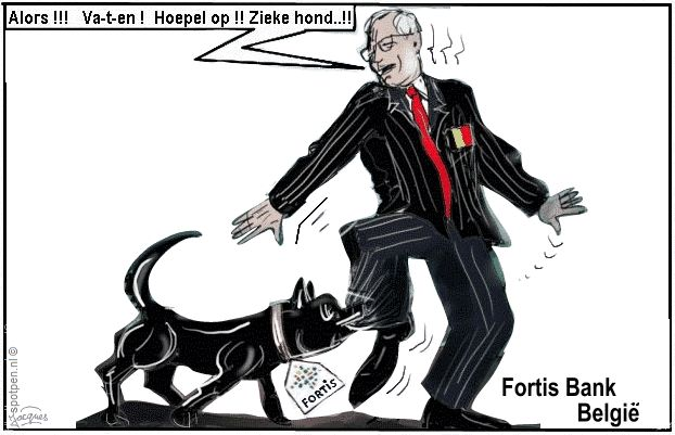 hond cartoon banken Fortis België