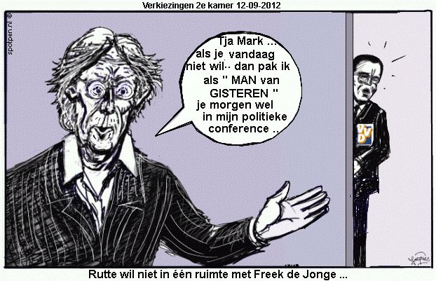 Cartoon Freek de Jonge  Rutte cabaretier verkiezingen 2012 VVD