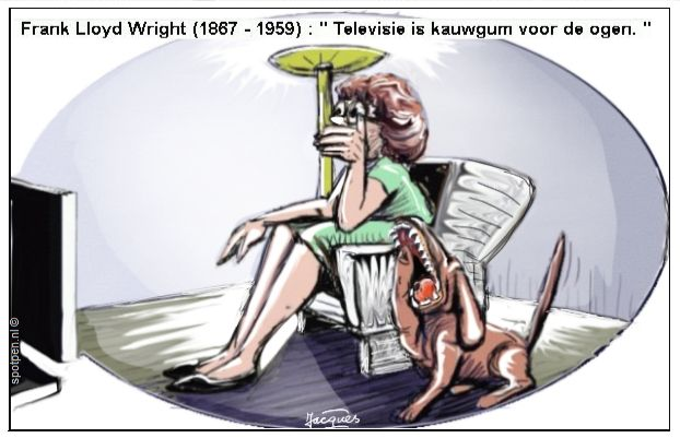 Cartoon gapende bazin hond televisie