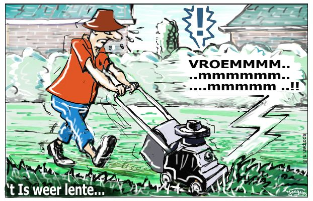 gras maaien  cartoon
