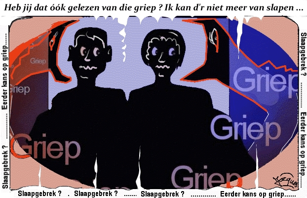 slaapgebrek cartoon griep
