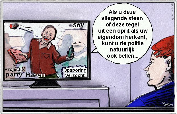 cartoon Opsporing Verzocht -  project X - party
