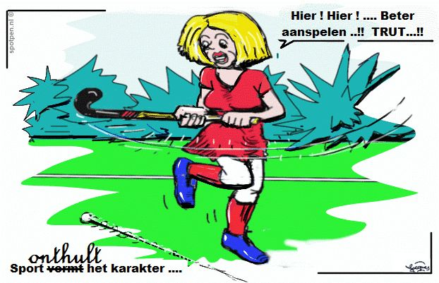 Hockey sport veldhockey cartoon dames hockey