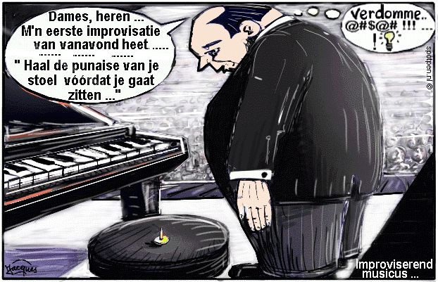 cartoon improvisatie musicus muzikant
