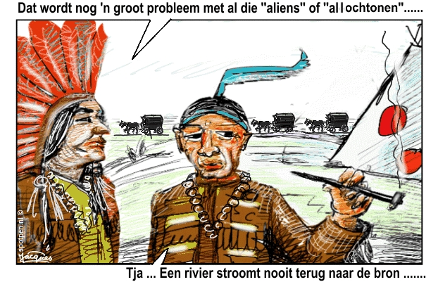 cartoon Indianen kolonisten