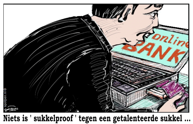 bank internet bankieren  cartoon
