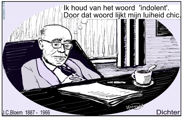J.C.Bloem dichter cartoon