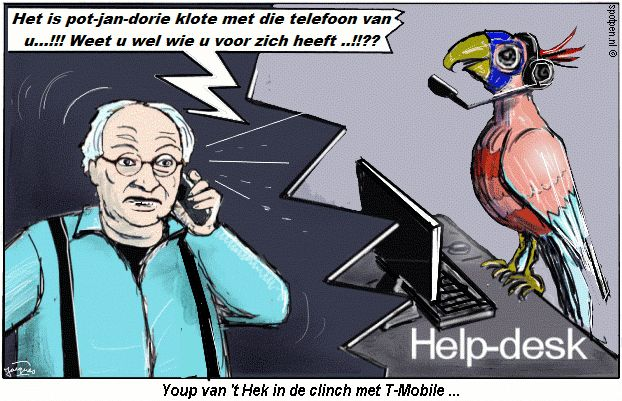 Cartoon helpdesk  telefoon