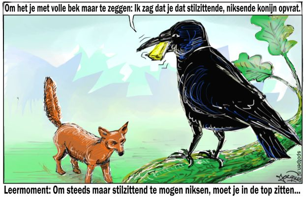 Vos raaf kaas cartoon