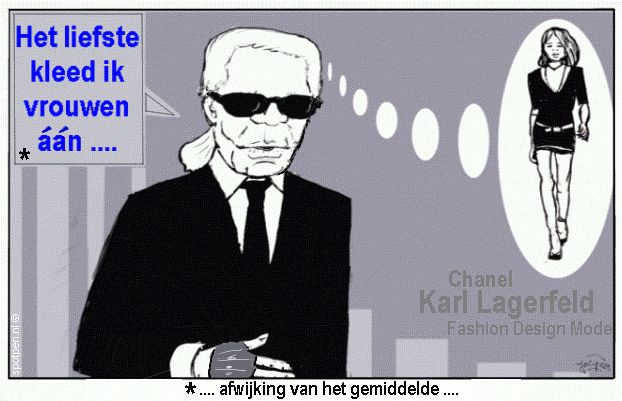 cartoon modeontwerper Karl Lagerfeld Chanel