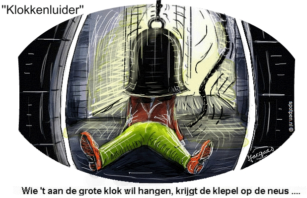 Klokkenluiders  cartoon   uit de school klappen
