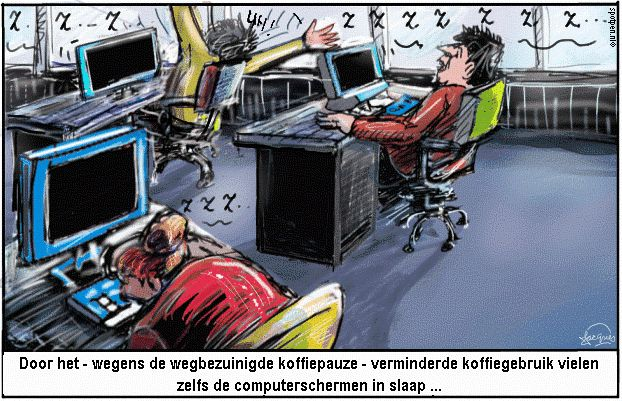 koffie pauze cartoon