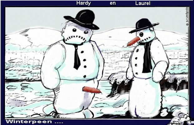 cartoon  sneeuw  Laurel en Hardy sneeuwpoppen