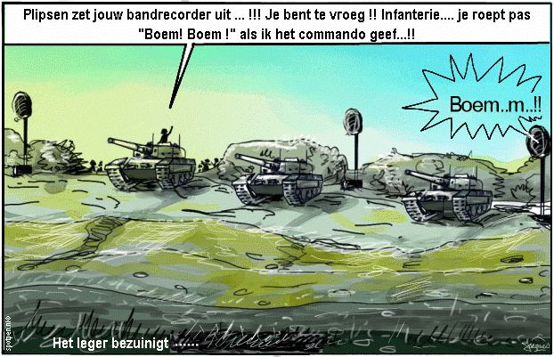 Cartoon leger defensie militairen tanks oefening