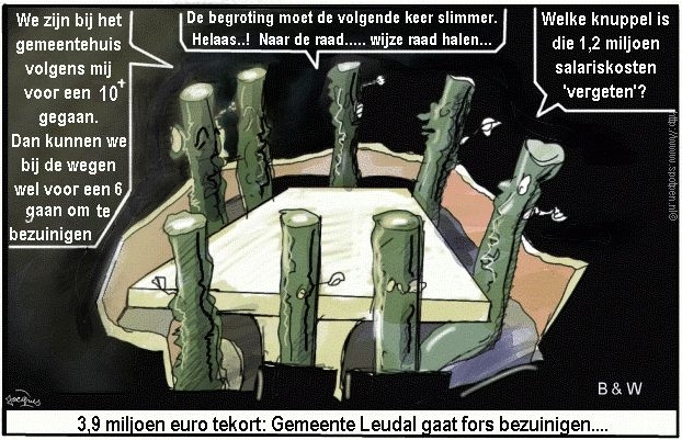 Leudal cartoon  wethouders b & w 2009 Gemeente