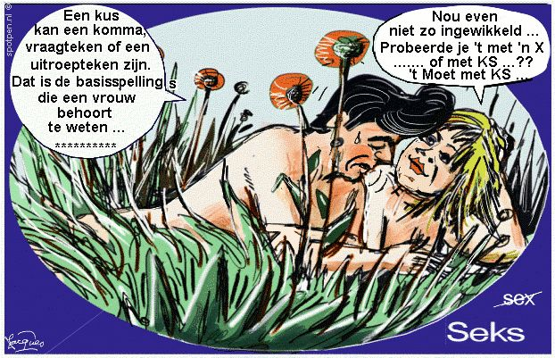 Cartoon seks sex in het gras