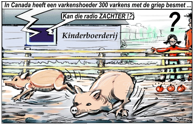 varkens cartoon griep epidemie