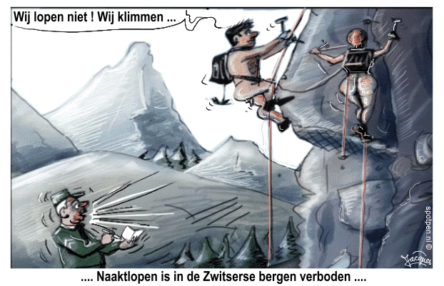 Naaktlopen  naturisme cartoon  nudisme